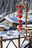 La ferme bimodale de forêt dans la province de Heilongjiang - village de neige Images libres de droits