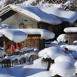 La ferme bimodale de forêt dans la province de Heilongjiang - village de neige Image stock