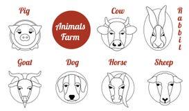 La ferme d'animaux plate d'icône illustration de vecteur