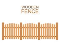 La ferme en bois embarque la construction du bois de silhouette de barrière dans le style plat Photo stock