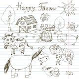 La ferme heureuse gribouille des icônes réglées Croquis tiré par la main avec le cheval, la vache, le porc de moutons et la grang Images libres de droits