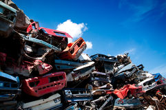 La ferraglia del ferro ha compresso per riciclare Immagini Stock