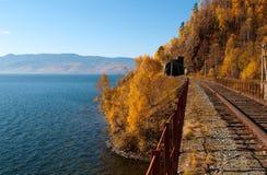 La ferrovia del Circum-Baikal Immagine Stock