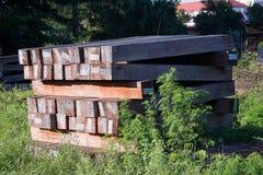 La ferrovia della traversina ciò è vecchio legno Fotografia Stock Libera da Diritti