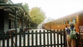 La ferrovia di Alishan, ha disegnato un periodo di alti e bassi delle storie di silvicoltura Dopo agitarsi, che cosa è accaduto è immagini stock
