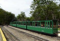 La ferrovia più a sud nel mondo sull'orlo della terra Fotografia Stock