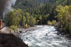 La ferrovia a scartamento ridotto da Durango a Silverton che passa Rocky Mountains dai Animas del fiume in Colorado U.S.A. Immagine Stock Libera da Diritti
