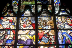 La Ferte-Bernard, stained glass Royalty Free Stock Photos
