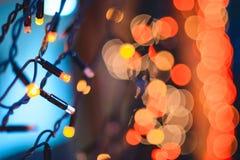 La festa accende la ghirlanda di Natale Immagini Stock