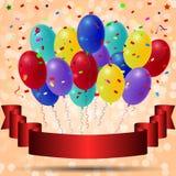 La festa balloons su un fondo blu con un'insegna grigia di vetro verticale del nastro Fotografia Stock