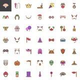 La festa in costume ha riempito le icone del profilo messe illustrazione di stock