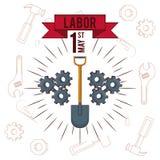 La festa del lavoro può carta undici illustrazione vettoriale