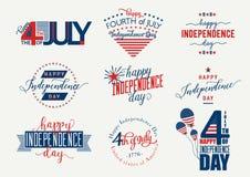 La festa dell'indipendenza felice Stati Uniti ricopre Quarto luglio - insegna, etichetta o di manifesto di July4th Insieme di vet illustrazione di stock