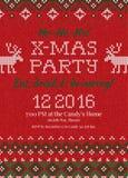 La festa di Natale brutta del maglione invita Ornamenti tricottati dello scandinavo del modello del fondo royalty illustrazione gratis