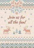 La festa di Natale brutta del maglione invita Ornamenti tricottati dello scandinavo del modello del fondo illustrazione di stock
