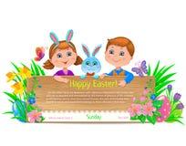 La festa di Pasqua scherza l'insegna Fotografie Stock