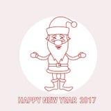 La festa di Santa Claus Cartoon Christmas New Year 2017 assottiglia la linea Illustrazione di Stock