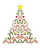 La festa ha decorato l'albero di Natale Fotografia Stock Libera da Diritti