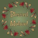 La festa pagana benedetta di Mabon nella caduta lascia l'ornamento della corona Fogliame arancio e rosso di autunno illustrazione di stock