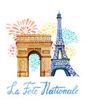 La Fete Nationale. Text `French National day`. Greeting card and poster design. Hand drawn watercolor illustration with Triumpha. L Arch, Eiffel tower and Stock Photos
