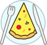 La fetta colorata della pizza dell'icona con i funghi, i pomodori, formaggio, si trova sul piatto con gli strumenti illustrazione vettoriale