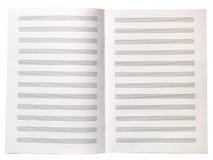 La feuille blanc de note de livre de copie de musique s'est ouverte Images libres de droits