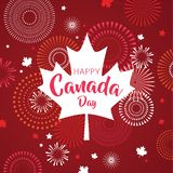 La feuille d'érable avec l'affiche de feu d'artifice pour célèbrent le jour national du Canada Carte heureuse de jour de Canada D illustration libre de droits