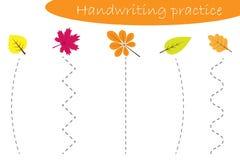 La feuille de pratique en matière d'écriture, chute d'automne, différentes feuilles colorées, badine l'activité préscolaire, jeu  illustration stock