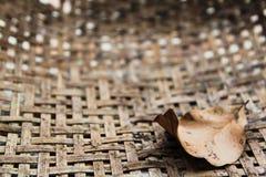 La feuille sèche sur la texture du bambou a tissé le fond Image libre de droits