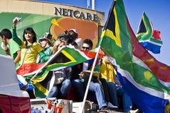 La fièvre du football de coupe du monde saisit Sandton Images libres de droits