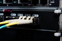 La fibra óptica conecta con el servidor y el almacenamiento. Imagen de archivo