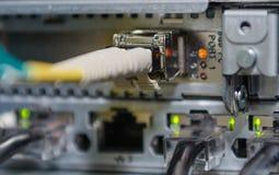 La fibra óptica conecta con el servidor y el almacenamiento. Imagen de archivo libre de regalías