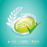 La fibra en comidas adelgaza vector de la etiqueta de la forma y del concepto de la vitamina Fotos de archivo libres de regalías