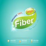 La fibra en comidas adelgaza vector de la etiqueta de la forma y del concepto de la vitamina Imagenes de archivo