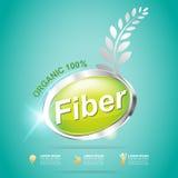 La fibra en comidas adelgaza vector de la etiqueta de la forma y del concepto de la vitamina Foto de archivo libre de regalías