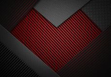 La fibra nera rossa astratta del carbonio ha strutturato il materiale de di forma del cuore Immagini Stock Libere da Diritti