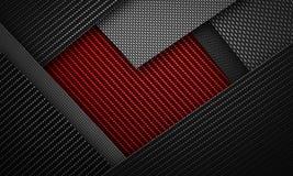 La fibra nera rossa astratta del carbonio ha strutturato il materiale de di forma del cuore Fotografia Stock