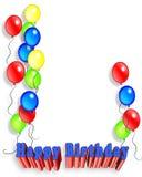La fiesta de cumpleaños hincha la invitación 3D Fotos de archivo