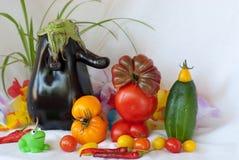 La fiesta de jardín de Juliana: ¿quién invitó a la berenjena? Imagen de archivo libre de regalías
