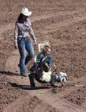 A La Fiesta De Los Vaqueros Junior Rodeo. Tucson, Arizona - February 15: The La Fiesta De Los Vaqueros Rodeo on February 15, 2014, in Tucson, Arizona. A Goat Royalty Free Stock Photography