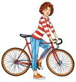 La figura bici del deporte de la muchacha del ciclista del deporte se divierte el volante Foto de archivo