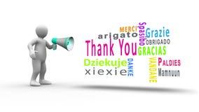 La figura blanca que grita en un megáfono para revelar le agradece en otros idiomas libre illustration