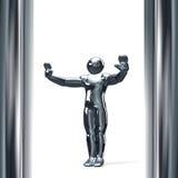 la figura 3D con ella es mano para arriba aislada en blanco Fotos de archivo libres de regalías