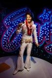 La figura de cera de Elvis Aaron Presley en señora Tussauds Singapore fotografía de archivo libre de regalías