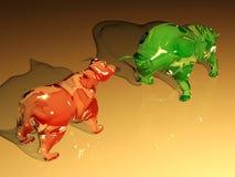La figura de cristal roja del oso enfrenta la figura del toro del vidrio verde ilustración del vector
