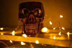 La figura del cráneo quema con la luz ámbar ilustración del vector