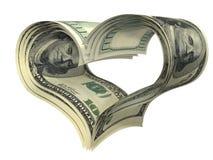 La figura del cuore del biglietto di S. Valentino fatta dai dollari ha isolato illustrazione vettoriale