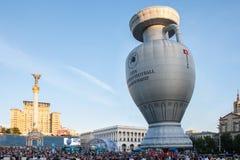La figura dell'aerostato foggia a coppa il campionato europeo di gioco del calcio Fotografia Stock Libera da Diritti