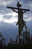 La figura di Gesù sull'incrocio ha scolpito in legno dallo scultore Alvarez Duarte Immagini Stock Libere da Diritti