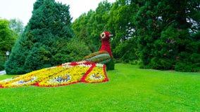 La figura di un bird& x27; fuoco di s fatto dei fiori Fotografie Stock Libere da Diritti
